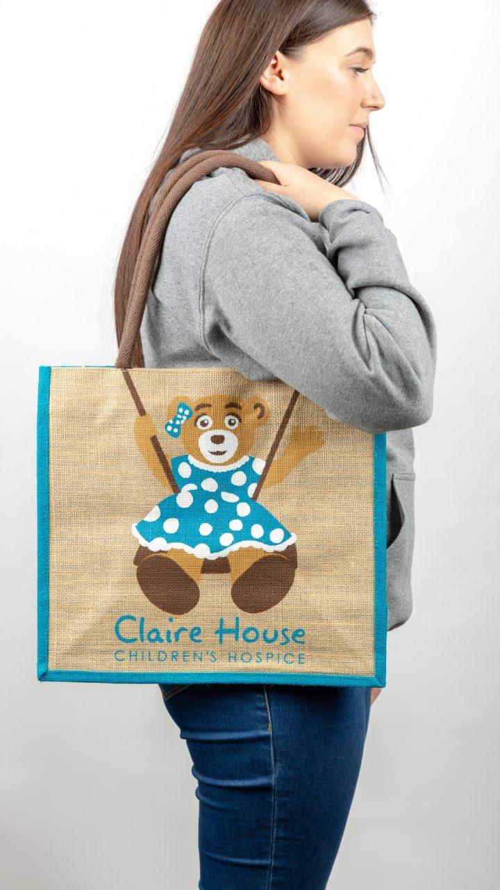 Large Blue Canvas Shopping Bag